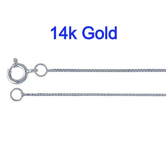 14K White Gold 0.5mm Box Chain