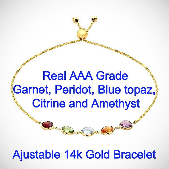 14K Yellow Gold Multi Stone-Set Adjustable Bracelet.