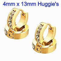 4mm x 13mm Stainless Steel gold color plated Huggie Hoop Earrings with Rhinestone's.
