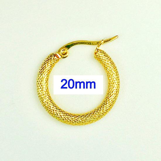 Stainless Steel 20mm Golden Hoop Earrings