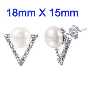 High Polished Sterling Silver Rhodium Plated   Clear CZ Paved Open Triangle Stud Earrings   with Round White Pearl.