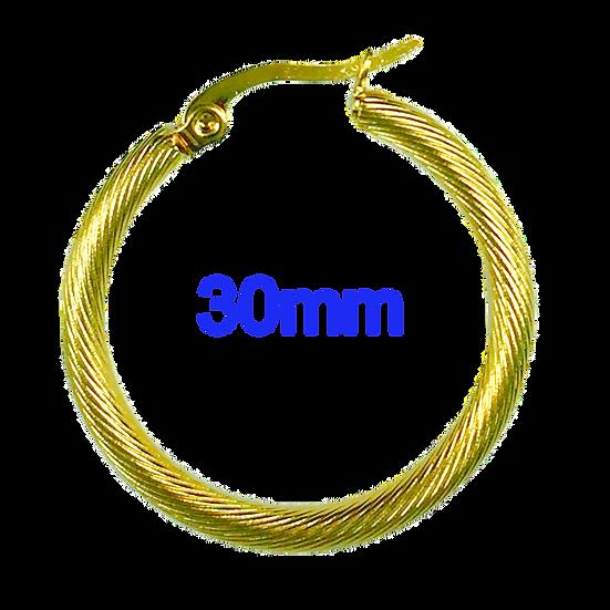 Stainless Steel 30mm Golden Hoop Earrings