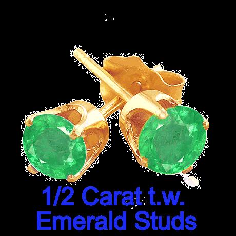 1/2 Carat t.w.Emerald Earrings set in 14k Yellow Gold