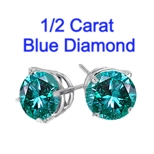 0.50 Carats Blue Diamond Earrings in 14k Gold