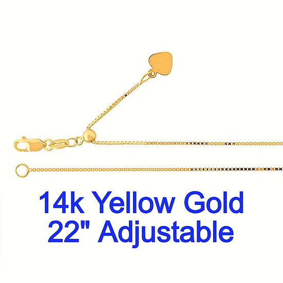 "14K Yellow Gold 0.7mm x 22"" Adjustable Box Chain."