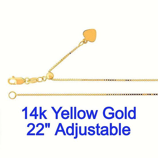 "14K Yellow Gold 0.7mmx 22"" Adjustable Box Chain."