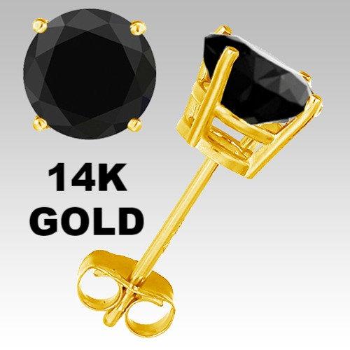 0.25 Ct Twt Black Diamond Earrings in 14k Yellow Gold