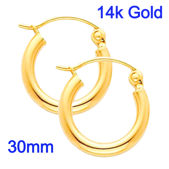 14K Yellow Gold 2mm x 30mm Classic Hoop Earrings with Snap Post Closure