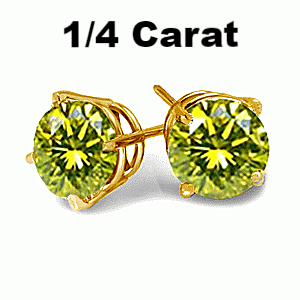 0.25 Carats Canary Diamond Earrings in 14k Yellow Gold