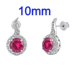 Sterling Silver Ruby Red Round Shaped CZ Earrings