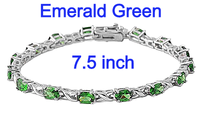 Sterling Silver Bracelet with Emerald Green CZ