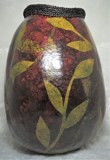 Decorative Gourd with Seagrass Rim