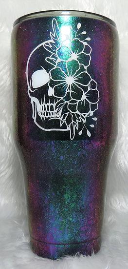 40 oz. Floral w/Skull Tumbler