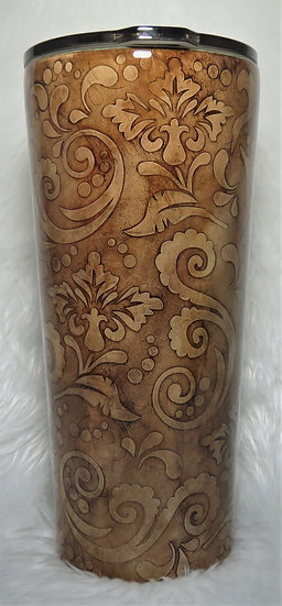 24 oz. Hand Tooled Leather Look Tumbler