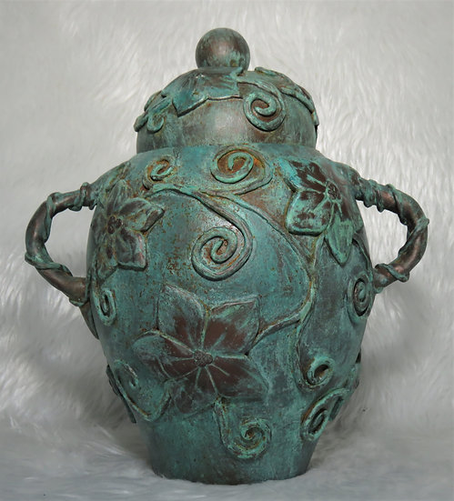 Lidded Gourd with Patina Finish