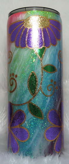 30 oz. Glittered Floral Tumbler w/Milky Way Effect