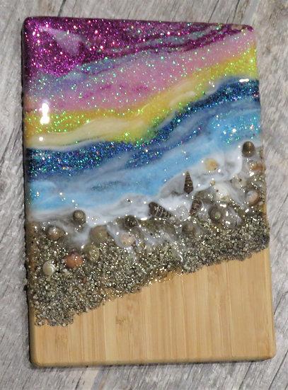 Bamboo Cutting Board w/Glittered Beach Scene