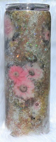 20 oz. Floral Tumbler w/Glitter Layers