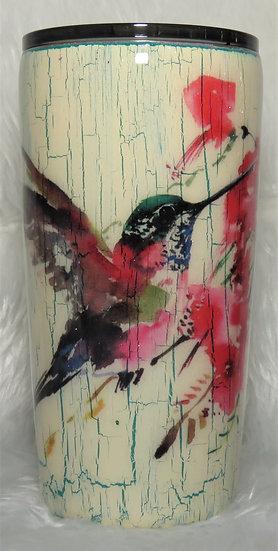 18 oz. Crackle Effect Hummingbird Tumbler