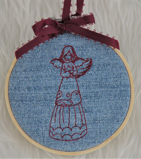 Embroidery Hoop Angel Ornament