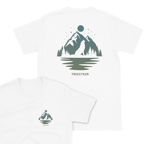 Wolf & Mountains Unisex T-Shirt - Back Print