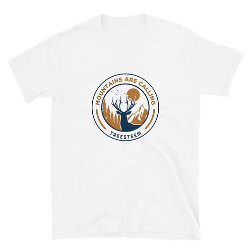 Mountains Are Calling Deer Unisex T-Shirt - Front Print