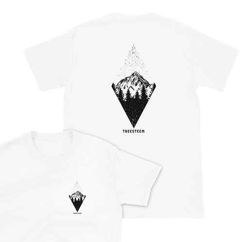 Mountains Diamond Pattern Unisex T-Shirt - Back Print