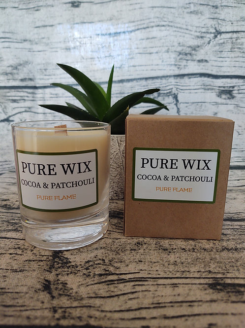 Cocoa and Patchouli Maple Wick Luxury Candle
