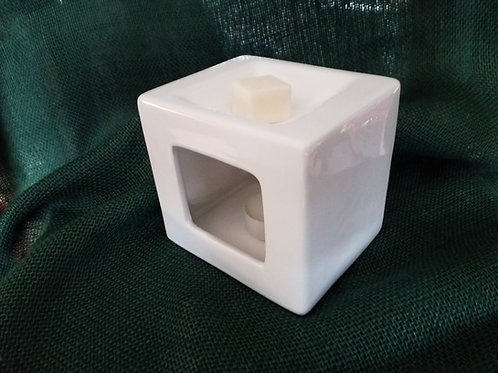 Luxury Ceramic Cubist Wax Melt Burner Two Scented Wax Melts and EcoTealights