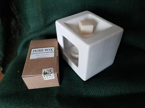 Grey Ceramic Cubist Wax Melt Burner Two Scented Wax Melts and Eco Tealights