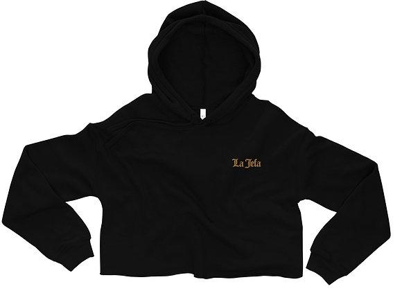 La Jefa Crop Hoodie - Gold Embroidery