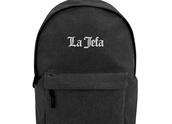La Jefa - White Embroidery Backpack