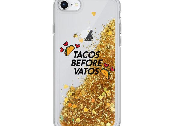 Tacos Before Vatos Liquid Glitter iPhone Case