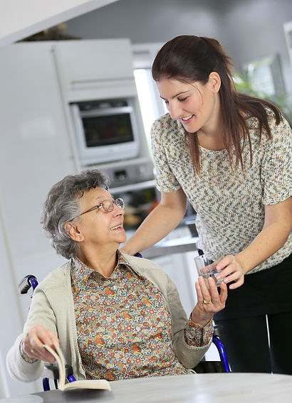Portrait of elderly woman in wheelchair