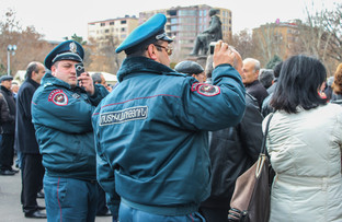 During protests in Yerevan.