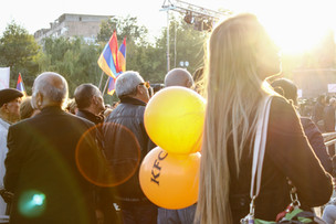 During a protest in Freedom Square. Yerevan   Armenia 2014