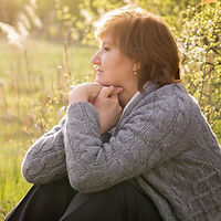 Middle-aged woman relaxing in spring gar