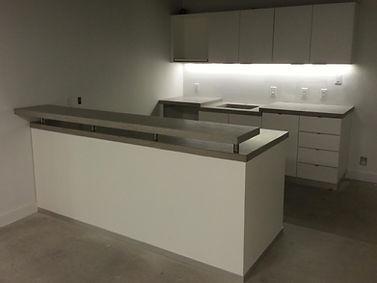 Denver concrete countertops | Dove Gray concrete counters in office breakroom