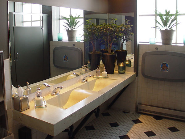Denver concrete counter | Mint green concrete vanity with integrated wave sinks and glass veining