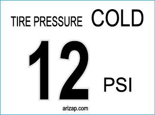 Tire Pressure Decal 12 PSI