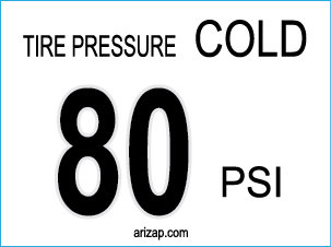 Tire Pressure Decal 80 PSI - Clear