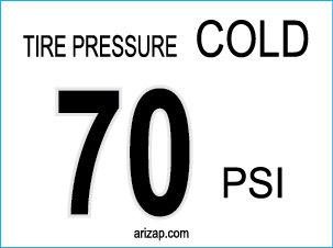 Tire Pressure Sticker / Decal 70 PSI - White