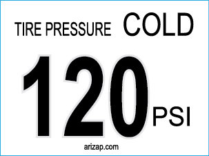 Tire Pressure Decal 120 PSI