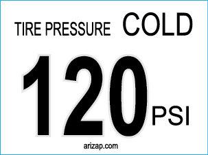 Tire Pressure Sticker / Decal 120 PSI - White