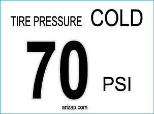 TIre Pressure Decal 70 PSI
