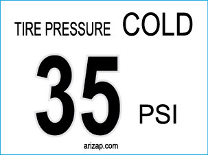 Tire Pressure Decal 35 PSI