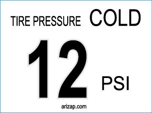 Tire Pressure Decal 12 PSI - Clear
