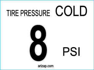 Tire Pressure Decal 8 PSI - Clear