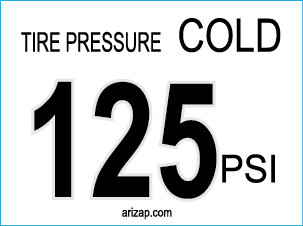 Tire Pressure Sticker / Decal 125 PSI - White