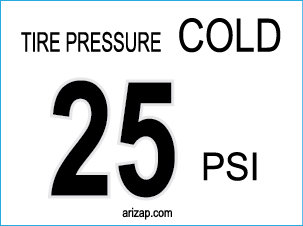 Tire Pressure Decal 25 PSI